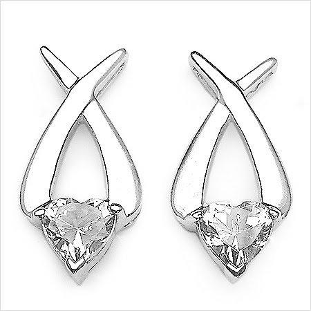 Bijoux Schmidt-Boucles d'oreilles ou Zircon Blanc Rhodium plaqué argent coeur-3, 40 carats