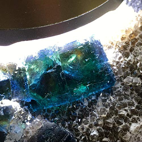 735ct Phantom Blue Green Cubic Fluorite on Smoky Quartz Crystal Matrix Base Natural Gemstone Mineral Geode Cubes Cluster Rough Specimen - China