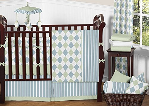 Modern Blue and Green Argyle Baby Boy Beddings 9pc Crib Set by Sweet Jojo Designs