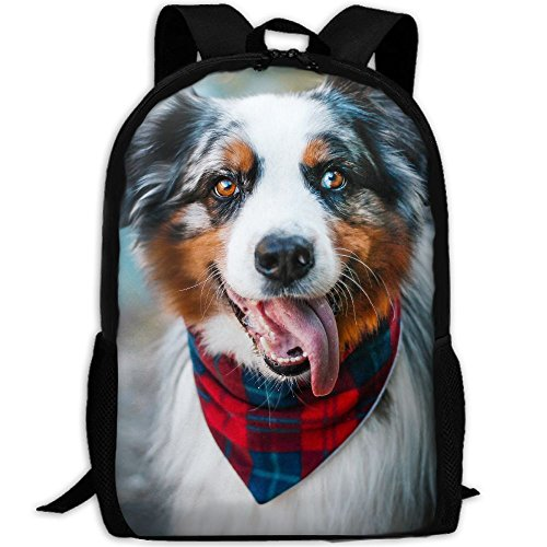 CY-STORE Australian Shepherd Animals Outdoor Shoulders Bag Fabric Backpack Multipurpose Daypacks For Adult by CY-STORE