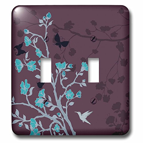 Hummingbird Toggle Light Switchplate - 3dRose lsp_78449_2 Bright Blue Cherry Blossoms with Hummingbirds Against A Purple Background Double Toggle Switch