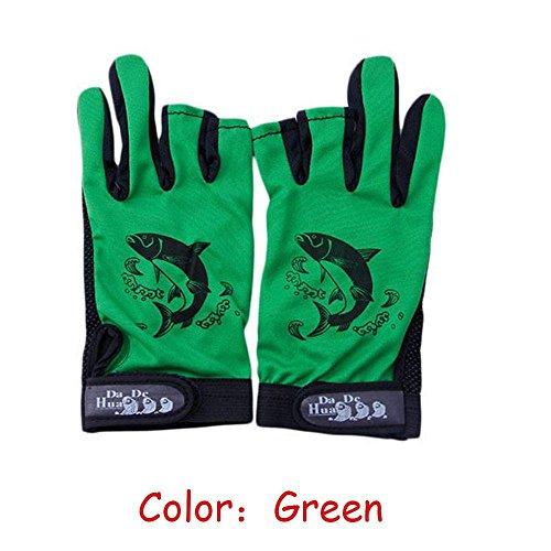 (beBettform 1Pair Waterproof Neoprene Cloth Fishing Gloves Anti-Slip Breathable 3 Finger Cut)