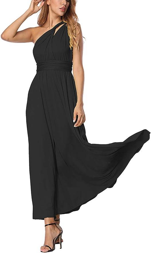 TALLA L(ES 44-46). FeelinGirl Mujer Vestido Maxi Convertible Espalda Decubierta Cóctel Multiposicion Tirantes Multi-Manera Largo Falda para Fiesta Ceremonia Sexy y Elegante Negro L(ES 44-46)