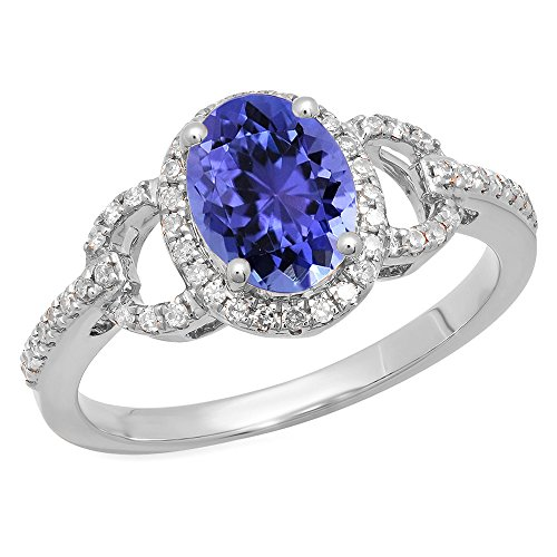 Oval Gold 14k Tanzanite Ring - Dazzlingrock Collection 14K 8X6 MM Each Oval Tanzanite & Round Diamond Ladies Halo Engagement Ring, White Gold, Size 6.5