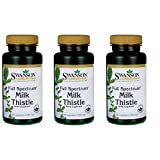 Swanson Milk Thistle Liver Support Cleanse and Detox Supplement Seed Extract 500 mg per Capsule (1000 mg per 2 Capsule Serving Size) 100 Capsules (3 Pack)
