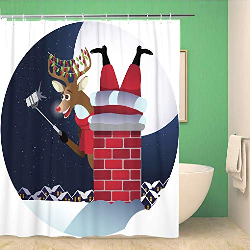 Awowee Bathroom Shower Curtain Red Reindeer Takes Selfie Santa Claus Stuck in The Polyester Fabric 60x72 inches Waterproof Bath Curtain Set with Hooks (Difference Between St Nick And Santa Claus)
