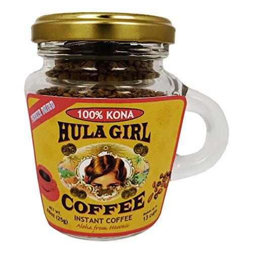 100% Hula Mouse Instant Kona Coffee Freeze Dried Jar with Handle 0.88 oz (25g)