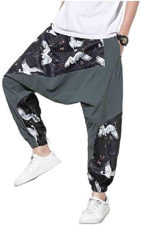 Beeatree 男性パッチワークプラスサイズ通気性エスニックスタイルルーズフィットレッグパンツ