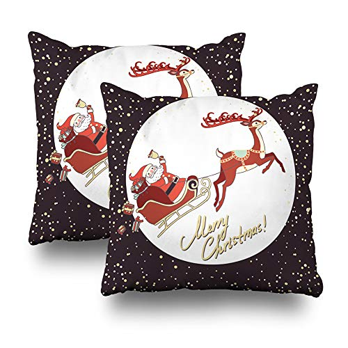 Geericy Set of 2 Decorative Throw Pillow Covers Santa Claus Sleigh with Reindeer Banner Card Celebration Christmas Claus Cushion Cover 18X18 Inch for Bedroom Sofa