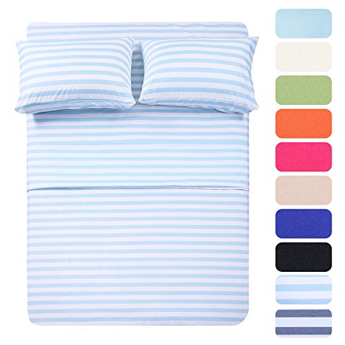 4 Piece Deep Pocket Stripe Bed Sheets Set, HOTEL LUXURY 1800 Series Egyptian Quality Bedding Set - Wrinkle, Fade, Stain Resistant - Hypoallergenic Sheet & Pillow Case Set- (Full,Stripe Light Blue) Stripe Pillowcase Set