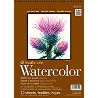 "Strathmore Strathmore STR-440-12 12 Sheet No.140 Watercolor Cp Tape Bound, 6 by 12"", 440-12, White, 6""x12"""