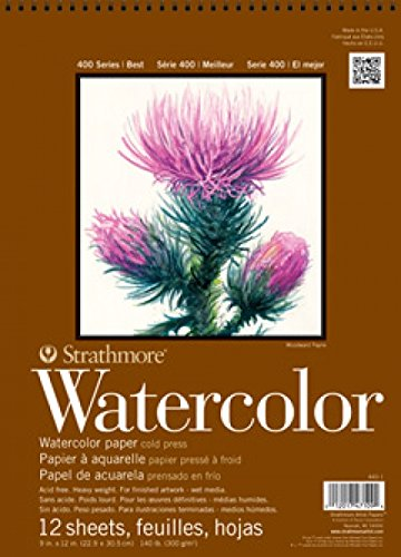 140 Lb Watercolor Pad (Strathmore STR-440-1 12 Sheet No.140 Watercolor Cp Wire Bound Pad, 9 by 12