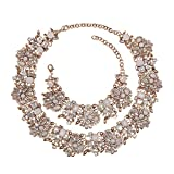 Holylove Chunky Crystal Necklace for Women Fashion Necklace Bracelet White 1 Set Retro Style with Gift Box-8041SW3PCS