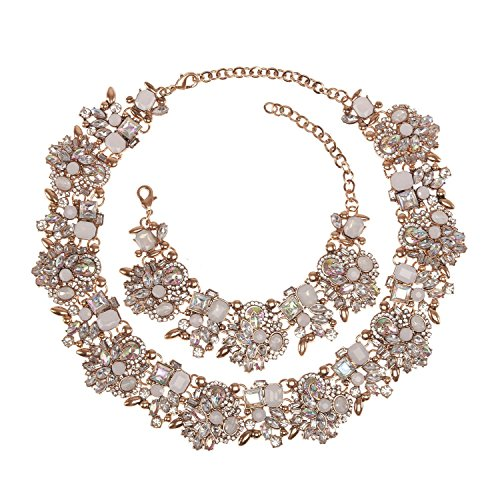 Holylove Chunky Crystal Necklace for Women Fashion Necklace Bracelet White 1 Set Retro Style Gift Box-8041SW3PCS -