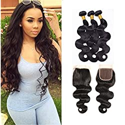 ZILING Brazilian virgin Hair 3 Bundles Human Hair Weave Extensions Brazilian Body Wave Natural Color Hair with 4X4 Free Part Closure (20 22 24+16 Free Part)