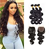 Cheap ZILING Brazilian virgin Hair 3 Bundles Human Hair Weave Extensions Brazilian Body Wave Natural Color Hair with 4X4 Free Part Closure (18 20 22+16 Free Part)