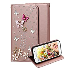 Leather Case for Samsung Galaxy Core Prime G360, Aearl [ Screen Protector ] Diamond Bling 3D Wallet PU Flip Cover Book Style Folio Case Card Holder for Samsung Galaxy G360 - Rose Gold Red Butterfly