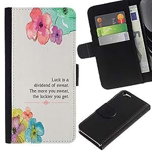 KLONGSHOP // Tirón de la caja Cartera de cuero con ranuras para tarjetas - Floral flor primavera Poema Mensaje - Apple Iphone 6 //