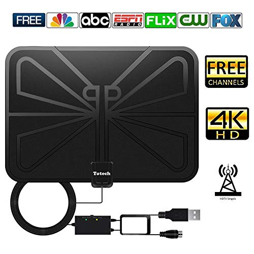 [Upgraded 2019] Totech Digital Amplified Indoor HD TV Antenna 80-120 Miles Range, Amplifier Signal Booster Support 4K 1080P Freeview Channels, 16.5ft Coax Cable