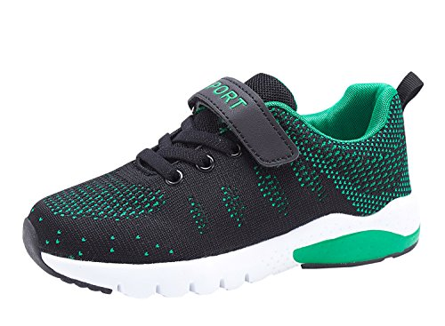 MAYZERO Kids Tennis Shoes Breathable Athletic Shoes Lightweight Walking Running Shoes Fashion Sneakers for Boys and Girls Dark Green