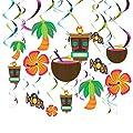Juvale 30 Pack Luau Party Decorations - Hawaiian Party Supplies - Hanging Hibiscus Flowers Decor, Metallic Swirls, Tiki Statues