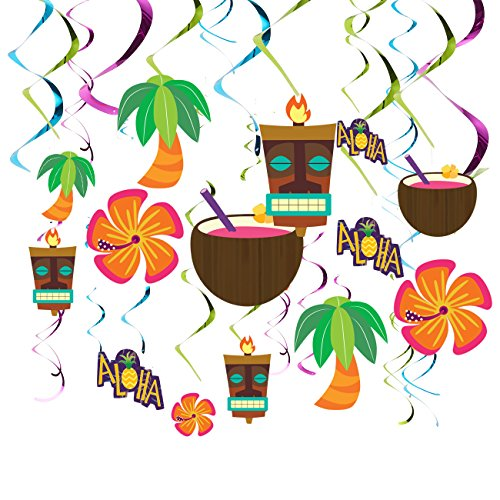 Juvale 30 Pack Luau Party Decorations - Hawaiian Party Supplies - Hanging Hibiscus Flowers Decor, Metallic Swirls, Tiki Statues
