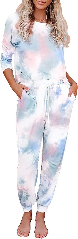EITIE Womens Tie Dye Printed Long Sleeve Tops and Pants Long Pajamas Set Joggers Sleepwear Nightwear Loungewear PJ Sets
