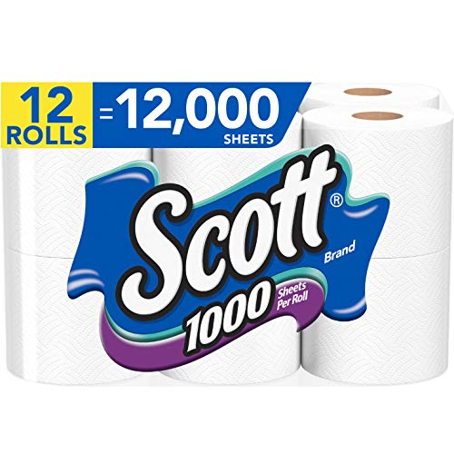 Scott 1000 Sheets Per Roll, 12 Toilet Paper Rolls, Bath Tissue