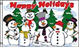 Happy Holidays (Snowmen) Polyester Flag, 3' x 5'