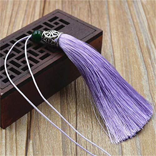 Silk Bib Handmade - 10pcs 9cm Handmade Artificial Silk Tassels Trims Key Ring Jewelry Cloth Decor (Colors - Light Purple)