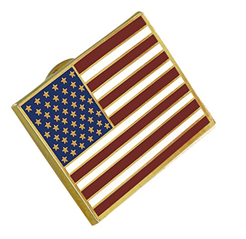 American Flag Lapel Pin PROUDLY MADE IN USA-- Gold Plated Rectangle Bulk (1 Pin) ()