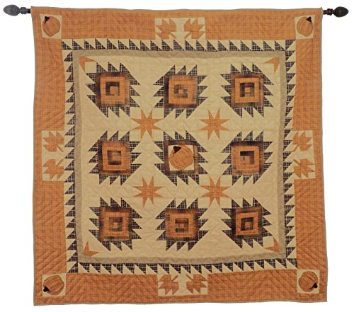 Harvest Log Cabin Wall Hanging Quilt 60 Inches by 60 Inches 100% Cotton Handmade Hand Quilted Heirloom Quality