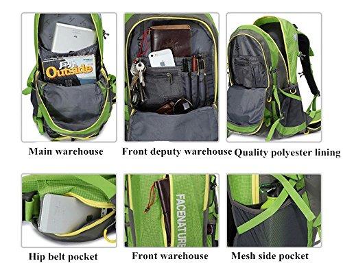 Mochila deportiva Facenature para aire libre, campamento, caminata, liviana y resistente de 40l o 50l, con cobertor para lluvia verde