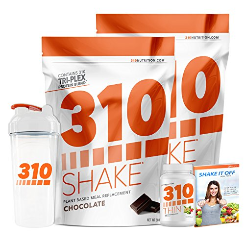 Chocolate Meal Replacement | 310 Shake Protein Powder is Gluten and Dairy free, Soy Protein and Sugar Free | Includes 310 Thin, Clear Shaker and Free Recipe eBook | (2) 28 Serving Bags by 310 Nutrition