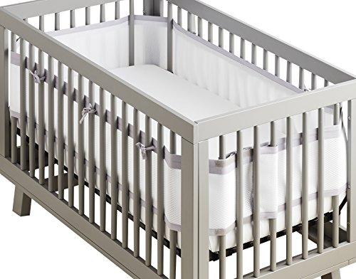 BreathableBaby | Deluxe Breathable Mesh Crib Liner | Doctor Endorsed | Helps Prevent Arms & Legs from Getting Stuck Between Crib Slats | Independently Tested for Safety | White w/Gray Lavender Linen