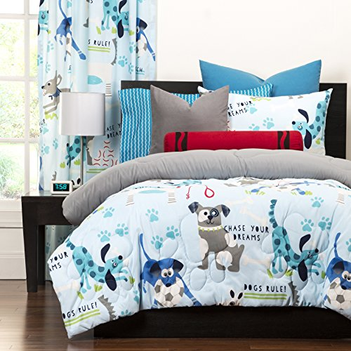 ... Bedding Teen Bedroom Casual Soft Cozy Polyester. Hot Sale 3 Piece Multi  Puppies Chase Your Dream Printed Comforter Full Queen Set, Blue