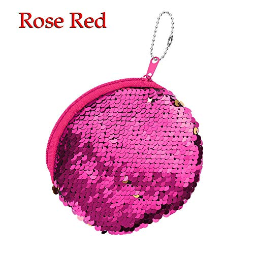- Womens Sequins Unicorn Mini Wallets Card Key Holder Zip Coin Purse Clutch Bags (Color - Rose Red Coin Bag)