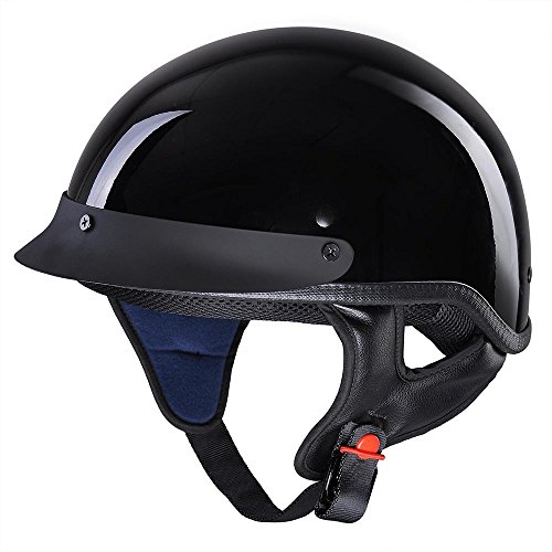 AHR Motorcycle Half Face Helmet DOT Approved Bike Cruiser Chopper High Gloss Black L