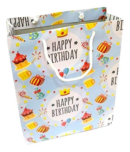 Adorn Premium Happy Birthday Party Return Gift Bags Pack Of 10 Blue 7 INCH X Amazonin Office Products