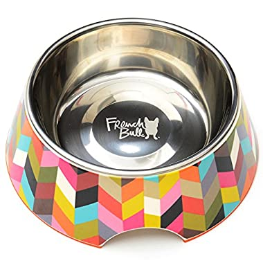 French Bull Stainless Steel and Melamine Ziggy Designer Dog Bowls for Dogs or Cats, Medium