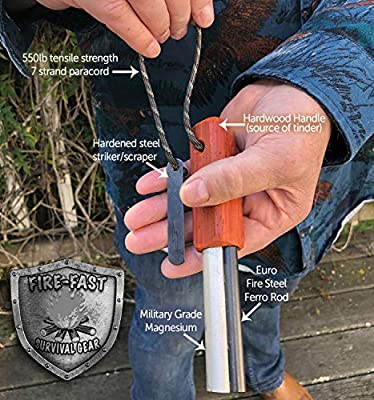 Fire-Fast Trekker. Best Emergency Waterproof Survival Fire Starter. Magnesium and Euro Fire Steel Ferro Rod. Compact Durable Tool for Bushcraft, Camping, Backpacking, Hiking, Hunting, or Bug Out Bag.