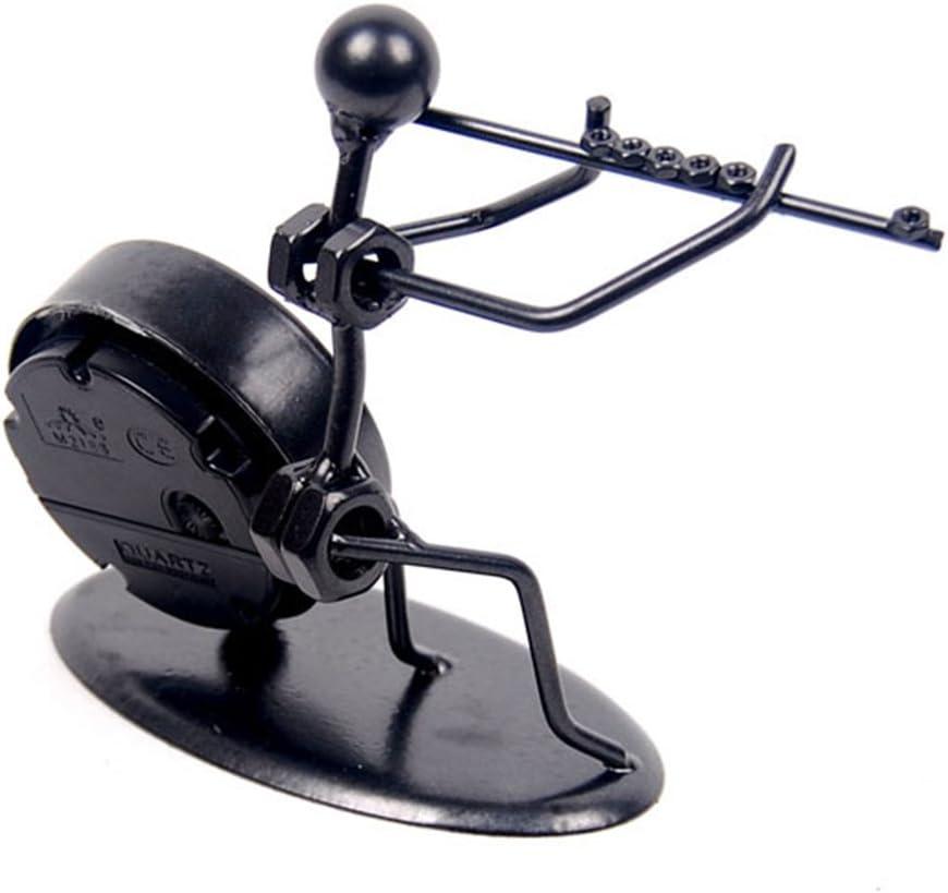 Winterworm Creative moderne fer Art Instrument Desk Ornement montre /à quartz Noir Horloge vintage /étag/ère Horloge D/écoration Horloge de bureau Home Office Bureau D/écoration Horloge Ornement Cadeau