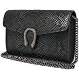 RACHEL Italian cross body chain bag, designer evening purse, flap bag, suede genuine leather (clutch reptile black)