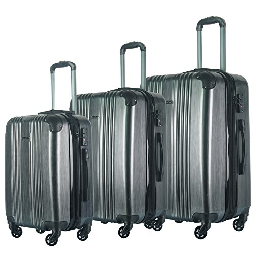3 PC Luggage Set Durable Lightweight Spinner Suitecase LUG3 6111 CHARCOAL