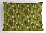 Ambesonne Deer Pillow Sham, Animals in The Forrest Mooses and Pine Trees Pattern Canada Foliage Mammal Design, Decorative Standard Size Printed Pillowcase, 26 X 20 inches, Green Tan Brown