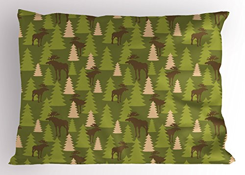 Ambesonne Deer Pillow Sham, Animals in The Forrest Mooses and Pine Trees Pattern Canada Foliage Mammal Design, Decorative Standard Size Printed Pillowcase, 26 X 20 inches, Green Tan Brown by Ambesonne