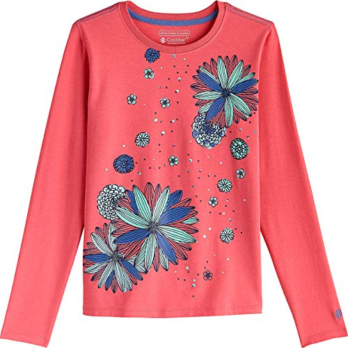 Coolibar UPF 50+ Kids' Long Sleeve Everyday Graphic T-Shirt - Sun Protective (X-Small- Sunset Coral Blooming Flowers) ()