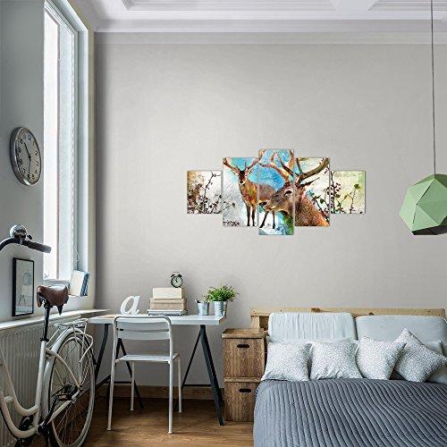 Bilder-Natur-Hirsch-Wandbild-Vlies-Leinwand-Bild-XXL-Format-Wandbilder-Wohnzimmer-Wohnung-Deko-Kunstdrucke-Bunt-5-Teilig-100-MADE-IN-GERMANY-Fertig-zum-Aufhngen-012052a
