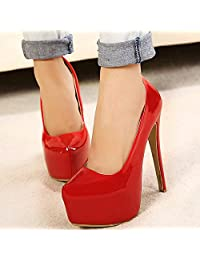 Womens PU Leather Candy Color Slip On Dress Pumps