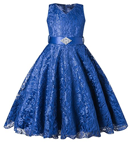 BEAUTY CHARM Girls Tulle Lace Glitter Vintage Pageant Prom Dresses with Belt Royal Blue